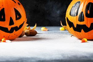 Halloween composition with pumpkins