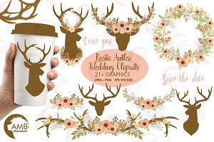 Rustic Antlers Clipart AMB-1483