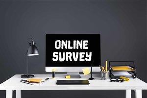 desktop computer with online survey