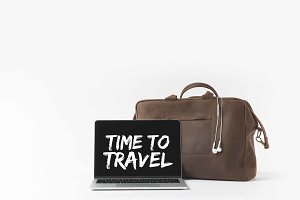 laptop with Time to travel inspirati