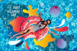 Asian woman on inflatable donut in p