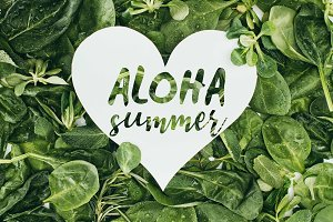 white heart symbol with words aloha