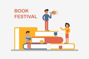 Book festival with reading people