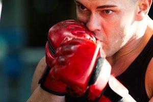 Strong man bodybuilder in training