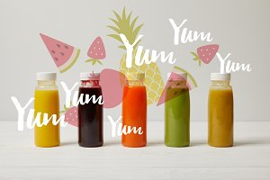 detox smoothies in bottles standing