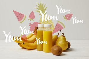 yellow detox smoothies in bottles wi