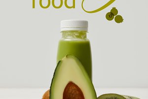 green detox smoothie with avocado, k
