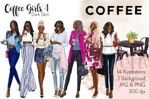 Coffee Girls 4 - Dark Skin clipart