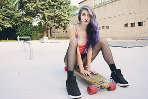 Teen skater woman