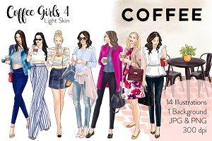 Coffee Girls 4 - Light Skin clipart
