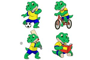 Set of actions with a crocodile todd