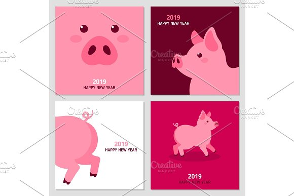 new year cards with pig illustrations