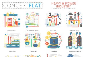 Heavy power industry concept icons.