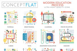 Modern education concept icons.