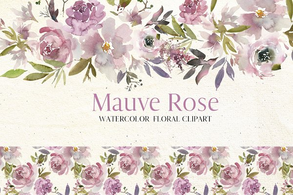Mauve Rose Watercolor Floral Clipar…