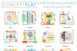 Startup development concept icons