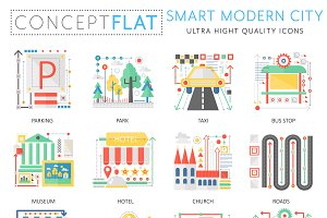 Smart modern city concept icons