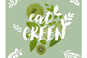 different organic green fruits and v