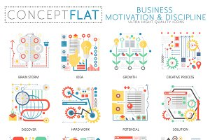 Business motivation concept icons.