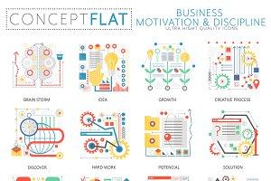 Business motivation concept icons.
