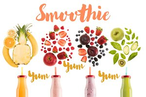 different healthy smoothies in bottl