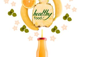 yellow healthy smoothie fruits in gl