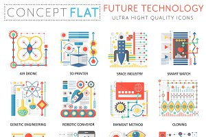 Future technology concept icons