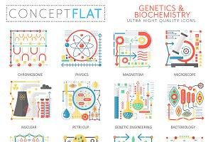 Genetics biochemistry concept icons