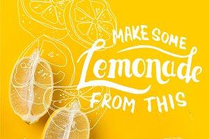Two halves of lemon and single lemon