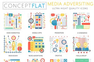 Media advertising concept icons