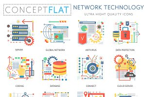 Network technology concept icons