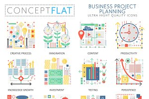 Business planning concept icons.