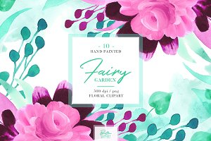 Pink Floral Watercolor Clipart