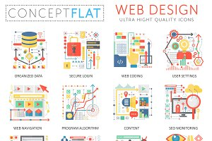 Web design concept icons