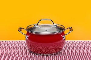 Red enamel saucepan