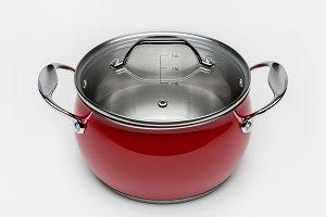 Metallic red cooking pan