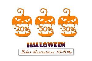 Halloween sales illustrations