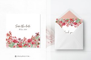 Floral vector invitation, BG 06