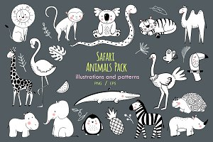 Cute Safari Animals Pack (EPS+PNG)
