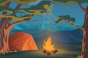 Camping recreation night landscape.