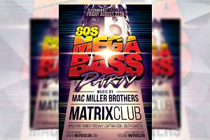 80s Mega Bass Party - Flyer Template