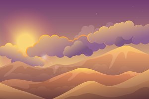 Mountains at sunset landscape.