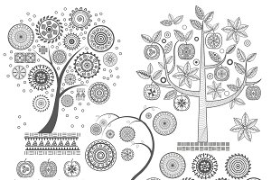 Aztecs Mayan ornament trees set