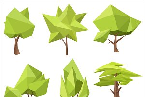 Low poly green trees set.