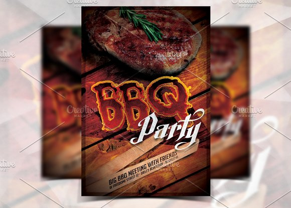 bbq party flyer template flyer templates creative market