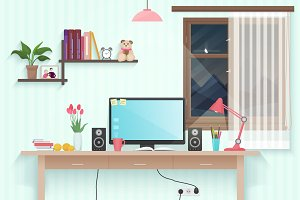 Teen girl room with workplace