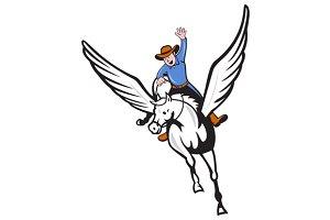 Cowboy Riding Pegasus Flying Horse C