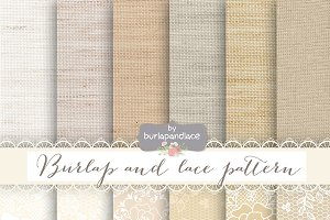 Burlap lace champagne digital papers