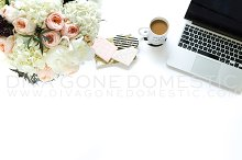 Styled stock photo laptop and coffee