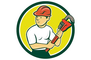 Plumber Holding Monkey Wrench Circle